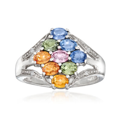 1.40 ct. t.w. Multicolored Sapphire Ring with White Topaz Accents in Sterling Silver, , default