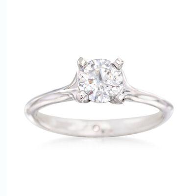 Gabriel Designs 14kt White Gold Four-Prong Solitaire Engagement Ring Setting, , default