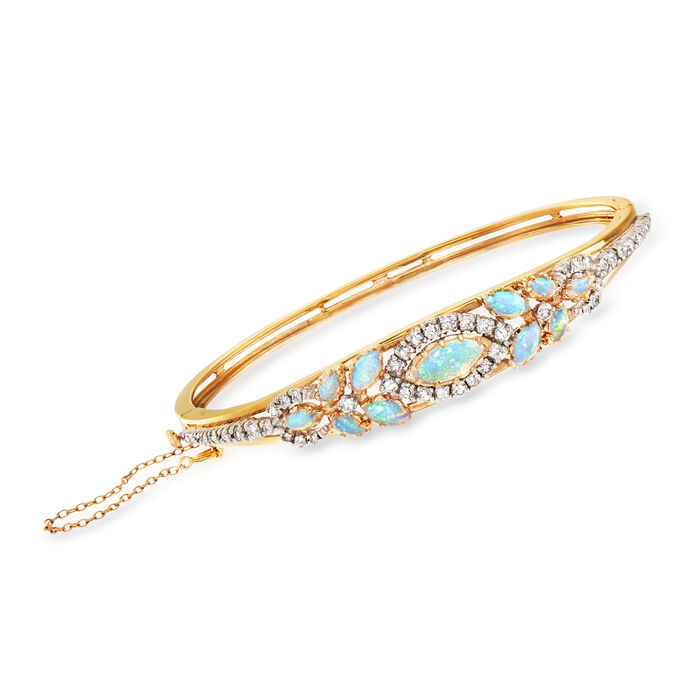 "C. 1970 Vintage Opal and 1.25 ct. t.w. Diamond Bangle Bracelet in 14kt Yellow Gold. 7.5"", , default"