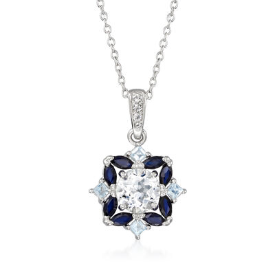 1.50 Carat White Topaz and 1.40 ct. t.w. Multi-Gem Pendant Necklace in Sterling Silver