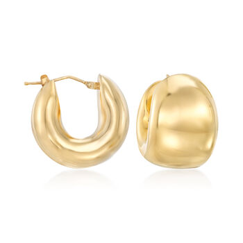 "Italian Andiamo 14kt Yellow Gold Wide Huggie Hoop Earrings. 3/4"", , default"