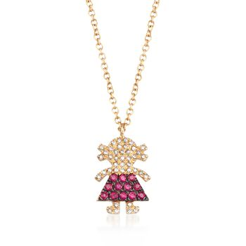 ".10 ct. t.w. Ruby and .10 ct. t.w. Diamond Girl Necklace in 14kt Yellow Gold. 18"", , default"