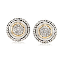 .60 ct. t.w. Pave White Zircon Earrings in 14kt Yellow Gold and Sterling Silver, , default