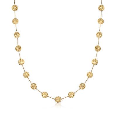C. 1990 Vintage 14kt Yellow Gold Disc Station Necklace, , default