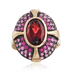 4.60 Carat Garnet and 1.30 ct. t.w. Pink Sapphire Ring in 14kt Yellow Gold, , default