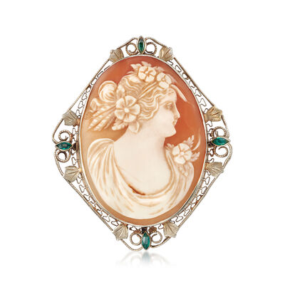 C. 1950 Vintage Shell Cameo Pin Pendant in 14kt White Gold