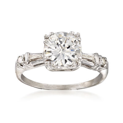 C. 1980 Vintage 1.65 ct. t.w. Diamond Ring in 14kt White Gold, , default