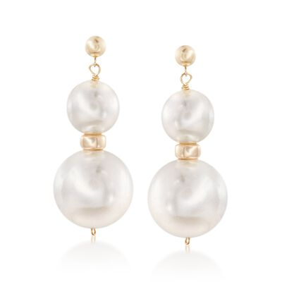 12-18mm Shell Pearl Drop Earrings in 14kt Yellow Gold, , default