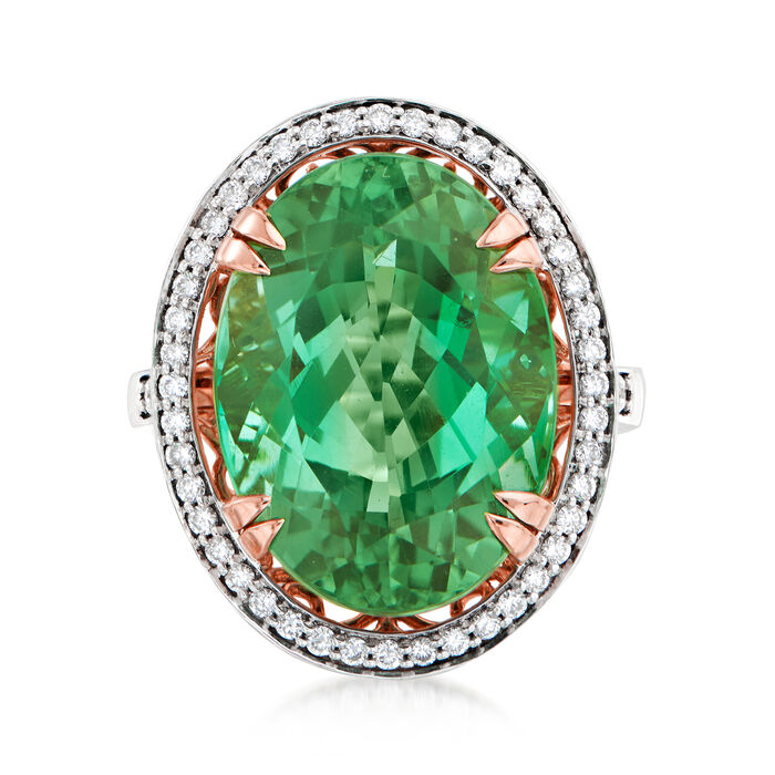 20.00 Carat Green Tourmaline and .61 ct. t.w. Diamond Ring in 18kt Rose Gold