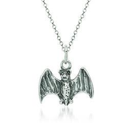"Sterling Silver Bat Charm Necklace. 18"", , default"