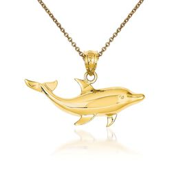 "14kt Yellow Gold Dolphin Pendant Necklace. 18"", , default"