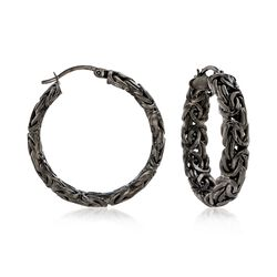 "Sterling Silver Byzantine Hoop Earrings in Black. 1 1/4"", , default"