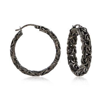 """Sterling Silver Byzantine Hoop Earrings in Black. 1 1/4"""", , default"""