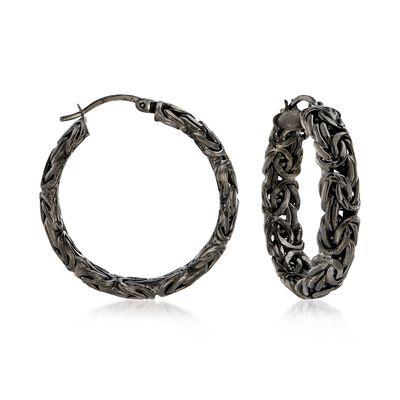 Sterling Silver Byzantine Hoop Earrings in Black, , default