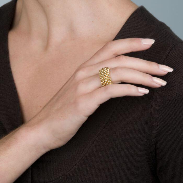 Italian 14kt Yellow Gold Beaded Mesh Ring