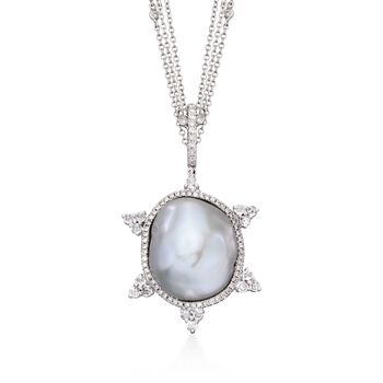 "Cultured Baroque Pearl and 1.00 ct. t.w. Diamond Pendant Necklace With White Sapphires in 18kt White Gold. 16"", , default"