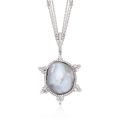 Cultured Baroque Pearl and 1.00 ct. t.w. Diamond Pendant Necklace with White Sapphires in 18kt White Gold, , default