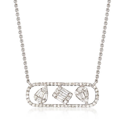 .25 ct. t.w. Baguette and Round Diamond Necklace in 14kt White Gold