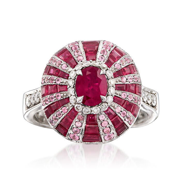 3.30 ct. t.w. Ruby and .60 ct. t.w. Pink Sapphire with .28 ct. t.w. Diamond Ring in 14kt White Gold. Size 7