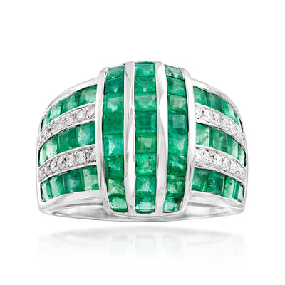 3.60 ct. t.w. Emerald and .21 Diamond Multi-Row Ring in 18kt White Gold