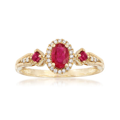 .60 ct. t.w. Ruby and .11 ct. t.w. Diamond Halo Ring in 14kt Yellow Gold, , default