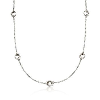 """Zina Sterling Silver """"Contemporary"""" Rolling Ring Station Necklace"""