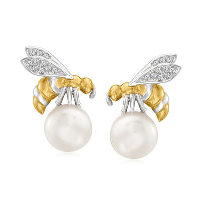 8-8.5mm Cultured Pearl Bee Earrings with Diamond Accents in Sterling Silver and 18kt Gold Over Sterling