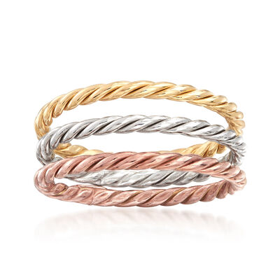 Tri-Colored Sterling Silver Jewelry Set: Three Rope-Textured Rings, , default