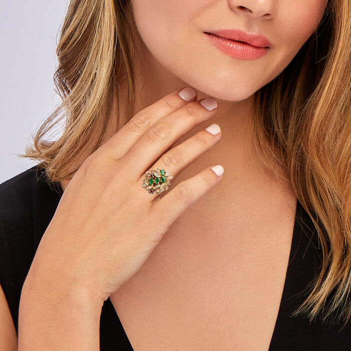 C. 1980 Vintage Jade and .30 ct. t.w. Diamond Leaf Ring with .10 ct. t.w. Ruby in 14kt Yellow Gold