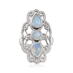 Moonstone Filigree Ring in Sterling Silver, , default