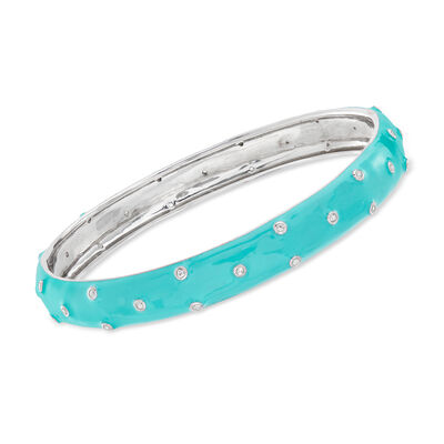 .40 ct. t.w. White Topaz and Turquoise Enamel Polka Dot Bangle Bracelet in Sterling Silver