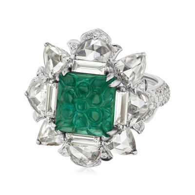 4.90 Carat Emerald and 2.95 ct. t.w. Diamond Ring in 18kt White Gold