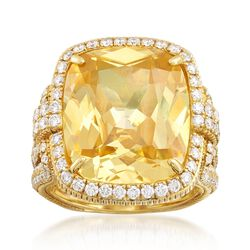 Judith Ripka Canary Yellow Crystal and 1.48 ct. t.w. Diamond Ring in 18kt Yellow Gold, , default