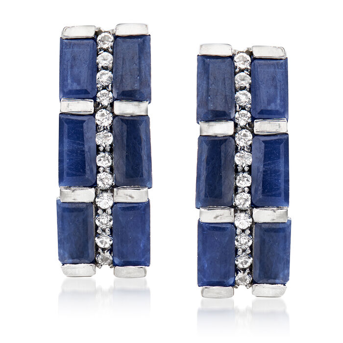 3.80 ct. t.w. Sapphire and .20 ct. t.w. White Topaz Earrings in Sterling Silver