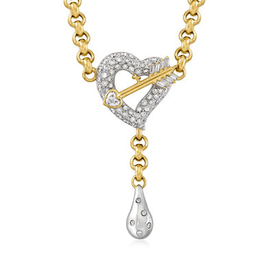C. 1990 Vintage Unoaerre 2.68 ct. t.w. Diamond Heart and Arrow Drop Necklace in 18kt Two-Tone Gold