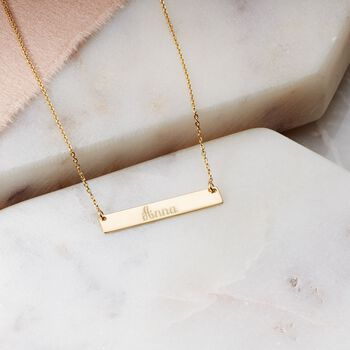 "14kt Yellow Gold Mini Name Bar Necklace. 16"", , default"