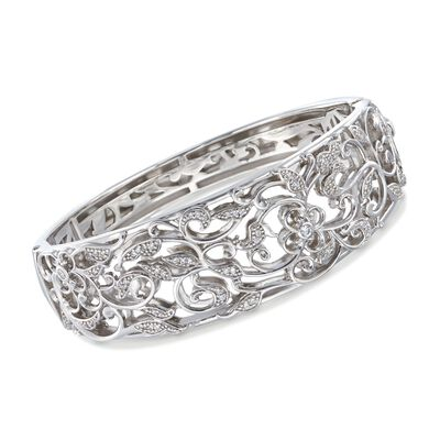 "Belle Etoile ""Empress"" .40 ct. t.w. CZ Bangle Bracelet in Sterling Silver, , default"