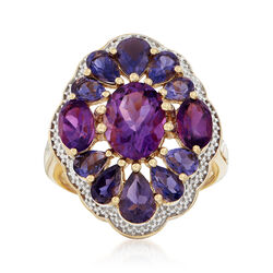 2.70 ct. t.w. Amethyst and 1.90 ct. t.w. Iolite Floral Ring in 18kt Gold Over Sterling Silver, , default