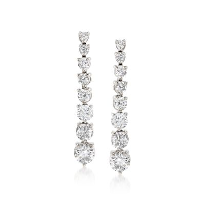 3.00 ct. t.w. Graduated Diamond Drop Earrings in 14kt White Gold, , default