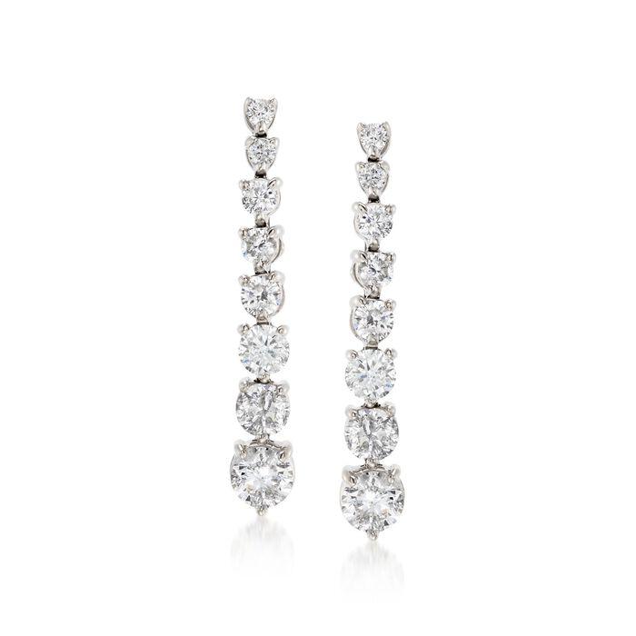 3.00 ct. t.w. Graduated Diamond Drop Earrings in 14kt White Gold