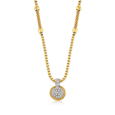 "ALOR ""Chain Reaction"" .19 ct. t.w. Diamond Yellow Stainless Steel Pendant Necklace with 18kt White Gold, , default"