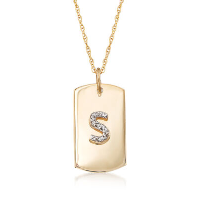 14kt Yellow Gold Single Initial ID Tag Necklace with Diamond Accents, , default