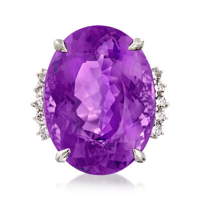 C. 1970 Vintage 37.65 Carat Amethyst and .50 ct. t.w. Diamond Ring in Platinum, , default