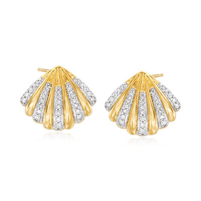 .25 ct. t.w. Diamond Shell Earrings in 14kt Yellow Gold, , default