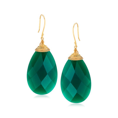 Green Chalcedony Drop Earrings in 18kt Gold Over Sterling, , default