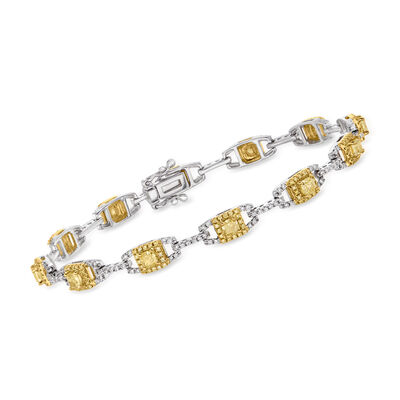 3.65 ct. t.w. Yellow and White Diamond Link Bracelet in 18kt Two-Tone Gold