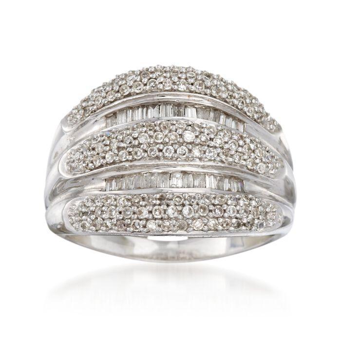 C. 1990 Vintage .85 ct. t.w. Diamond Multi-Row Ring in 14kt White Gold. Size 6.5, , default
