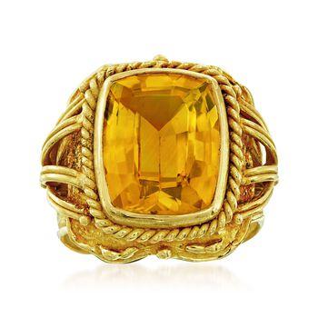 C. 1970 Vintage 7.15 Carat Citrine Ring in 18kt Yellow Gold. Size 6.25, , default