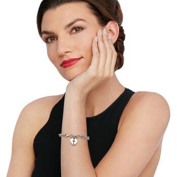 Italian Sterling Silver Heart and Cross Charm Bracelet