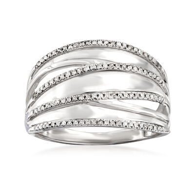 .20 ct. t.w. Pave Diamond Highway Ring in Sterling Silver, , default